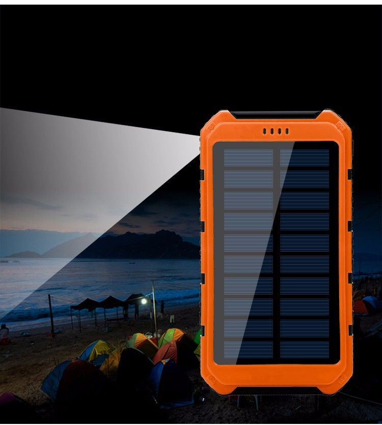 10000mAh mobile power Solar Charger Waterproof Solar Phone External Battery Dual USB Power Bank for smartphone  With LED Light
