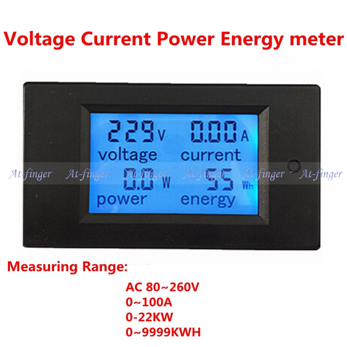 Digital LCD Blue backlight AC80-260V 100A volt amp meter with Transformer coil voltage current power energy meter(China (Mainland))
