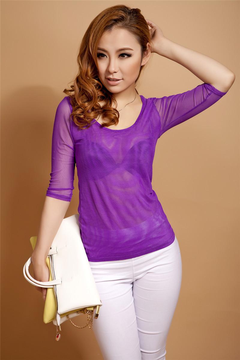 2015 Sale Women Polyester Nylon O-neck Tshirt Mesh Sexy Fashion Ladies Clothing Full Slevee Bottoming 2 Colors T Shirt Big Size(China (Mainland))