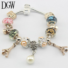 DGW Fashion Jewelry 4 Style Crown charm Bracelets & Bangles Blue Glass European Beads fits Pan bracelets for Women Gift(China (Mainland))