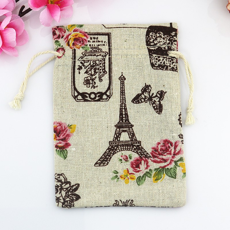 10*14CM 100PCS/Lot iron tower pattern Drawstring Cotton Bag Gift Tea Sachet Storage Pouch Cute Jewelry Gift Packaging bags(China (Mainland))