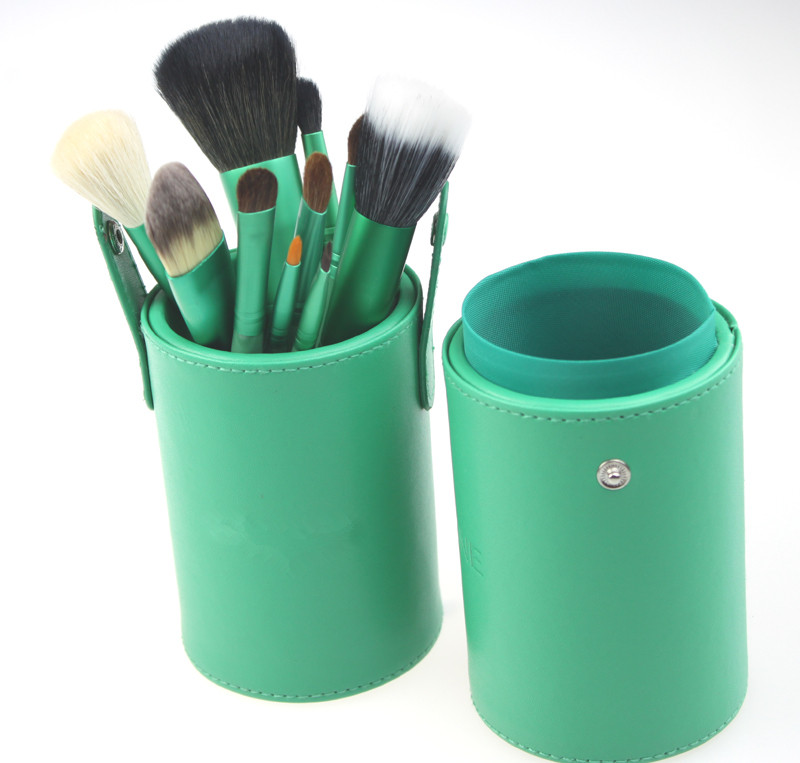 New Fashion Excellent 13 PCS Green Eyeshadow Goat Hair Makeup Brushes Kit Cosmetic Set With PU Cylinder Case Xams Gift Freeship(China (Mainland))