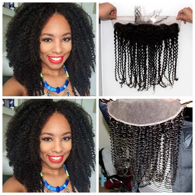 Фотография 7A Brazilian Afro Kinky Curly Lace Frontal Closure Free Part off black 13X4 curl Hair Full Lace Frontal With Baby Hair Free Ship