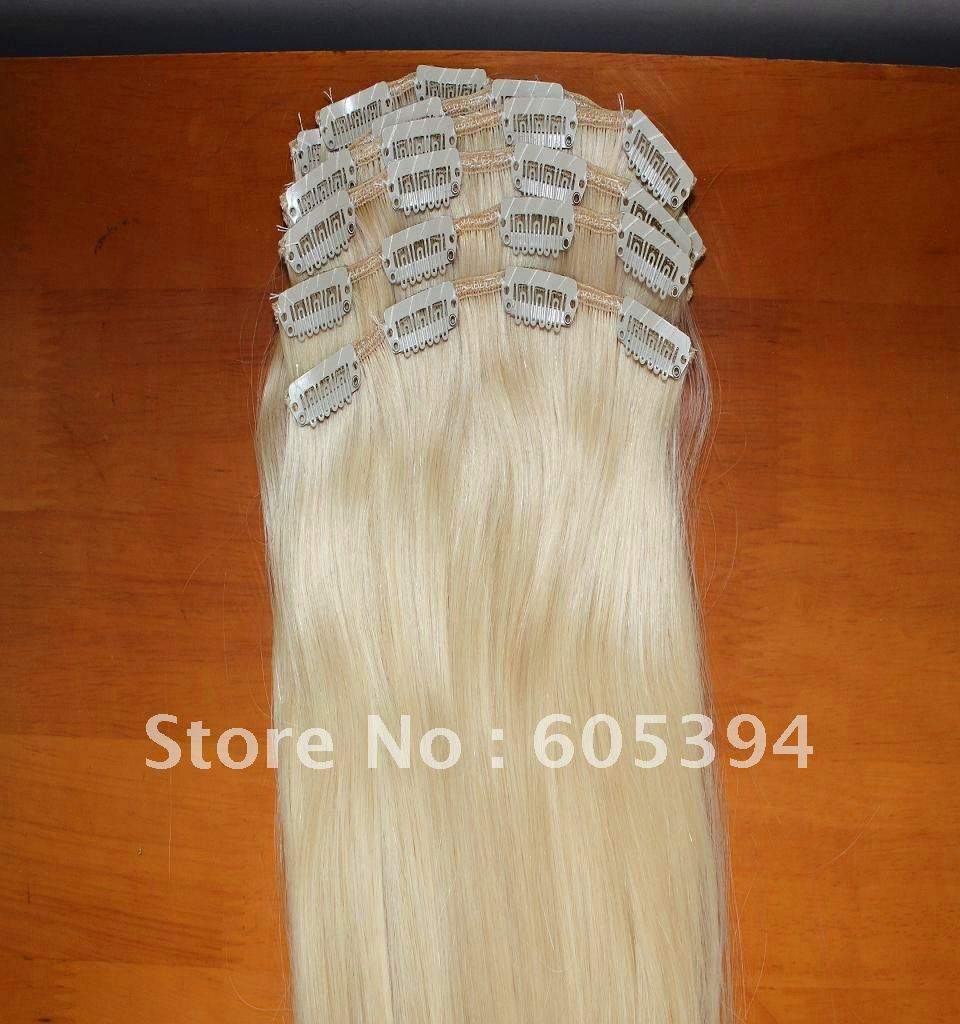 Clip in  hair extension/4 clips in 7 inch hair    10pieces/lot   180g/lot  16-24<br><br>Aliexpress