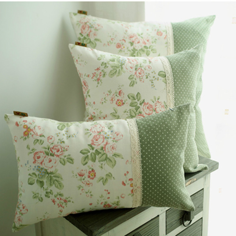 European Decorative Pillows : 2016 NEW High end European Countryside style Decorative Pillows Cushion Green flower printing ...
