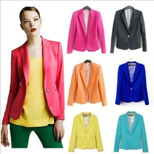 2014 Fashion Jacket Women Suit Foldable Long Sleeves Lapel Coat Lined Striped Single Button Vogue Blazers Jackets XL - COLORFUL--- LIFE store