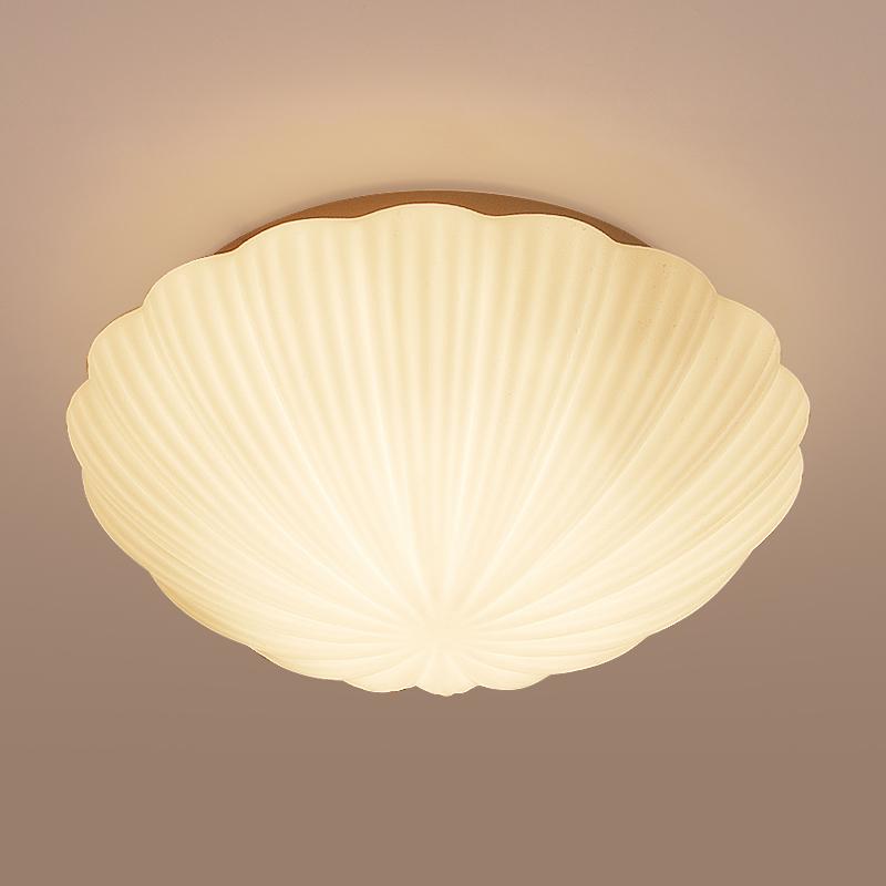 Shell shape led ceiling light modern warm bedroom glass for Shell ceiling light fixtures
