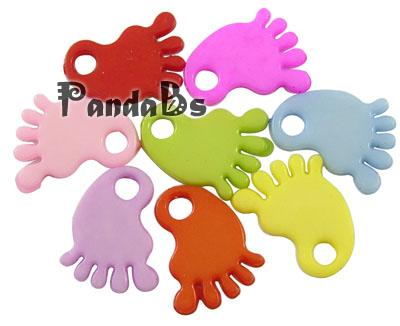 Baby Shower Ornaments Acrylic Baby Feet Pendants, Mixed Color, 18.5mm long, 14mm wide, 2mm thick, hole: 3mm(China (Mainland))