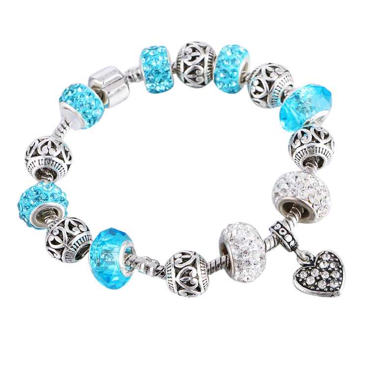 New alloy love charm bracelets DIY crystal beads Fit original bracelet women jewelry gifts(China (Mainland))