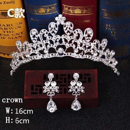 Bridal Hair Accessories Tiara Headdress Headband Hair Clips Women Crystal Pearls Decor Hair Band+earrings Jewelry Wedding (8)