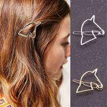 Punk Rock Gold Silver Color Beautiful Unique Design Hollow Unicorn Hair Clip Head Wear Best Friend Jewelry Women Girl Gifts(China (Mainland))