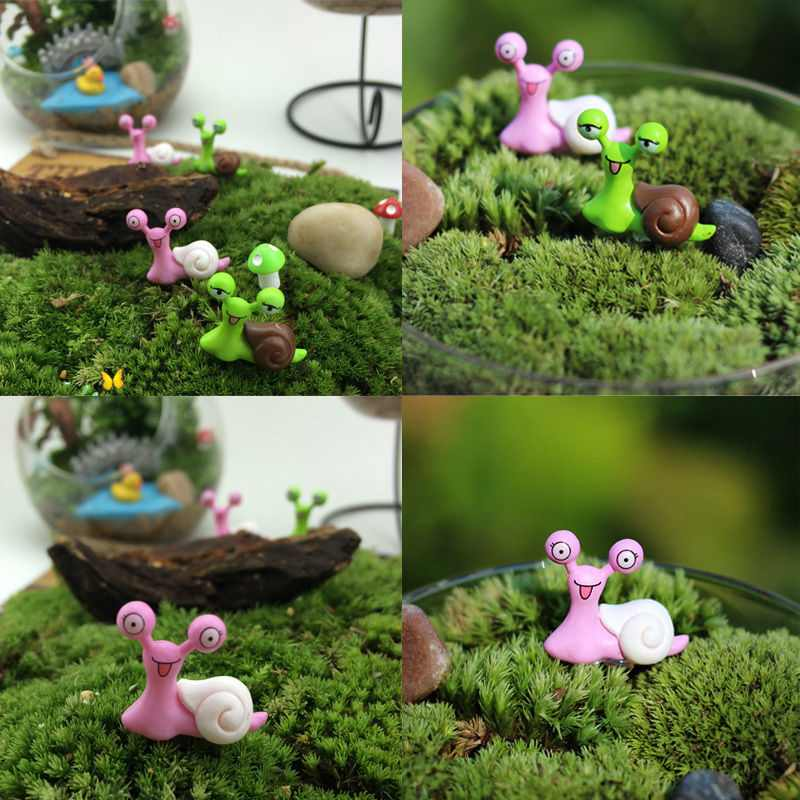 fun mini snail 2pcs set landscape ornament fairy garden