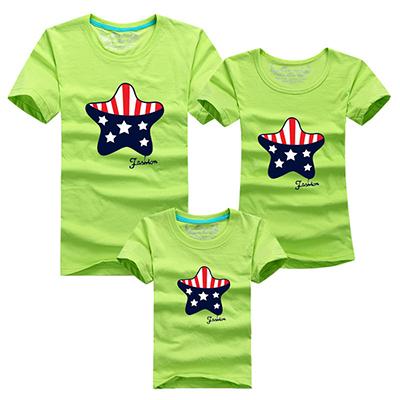 Семья соответствующие одежда хлопок футболки лето соответствия мать дочь одежда 5 звезды узор семья взгляд футболки