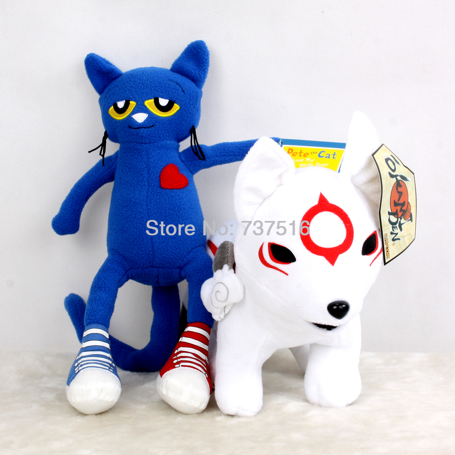 New Stuffed Animals 12 inches Okami Okamiden Den Chibiterasu Anime Wolf & Blue Cute Pete the Cat 14.5 inches Plush Doll Toys(China (Mainland))