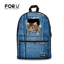 Мода женщины Backbag 3D животных кошка печать рюкзак джинсовой собака школы Bagpack для девочек дети школьников мешок рюкзак