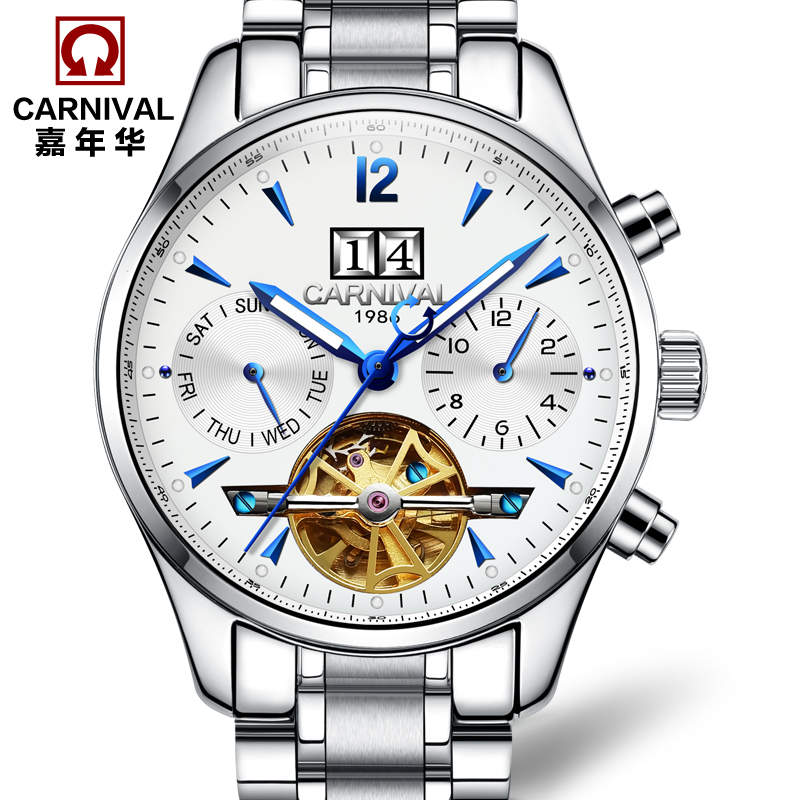Carnival fully-automatic mechanical watch fashion cutout watch male waterproof luminous mens watch stainless steel 8730