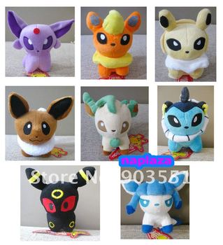 "Free Shipping Pokemon Umbreon Eevee Espeon Jolteon Vaporeon  Plush Toys 6"" Soft Stuffed animals (8pcs/set)"