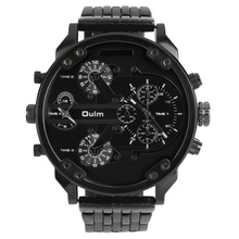 Oulm Men's 2 Movement Big Dial Stainless Steel Strap Sports Wrist Watch 3548 Hot!