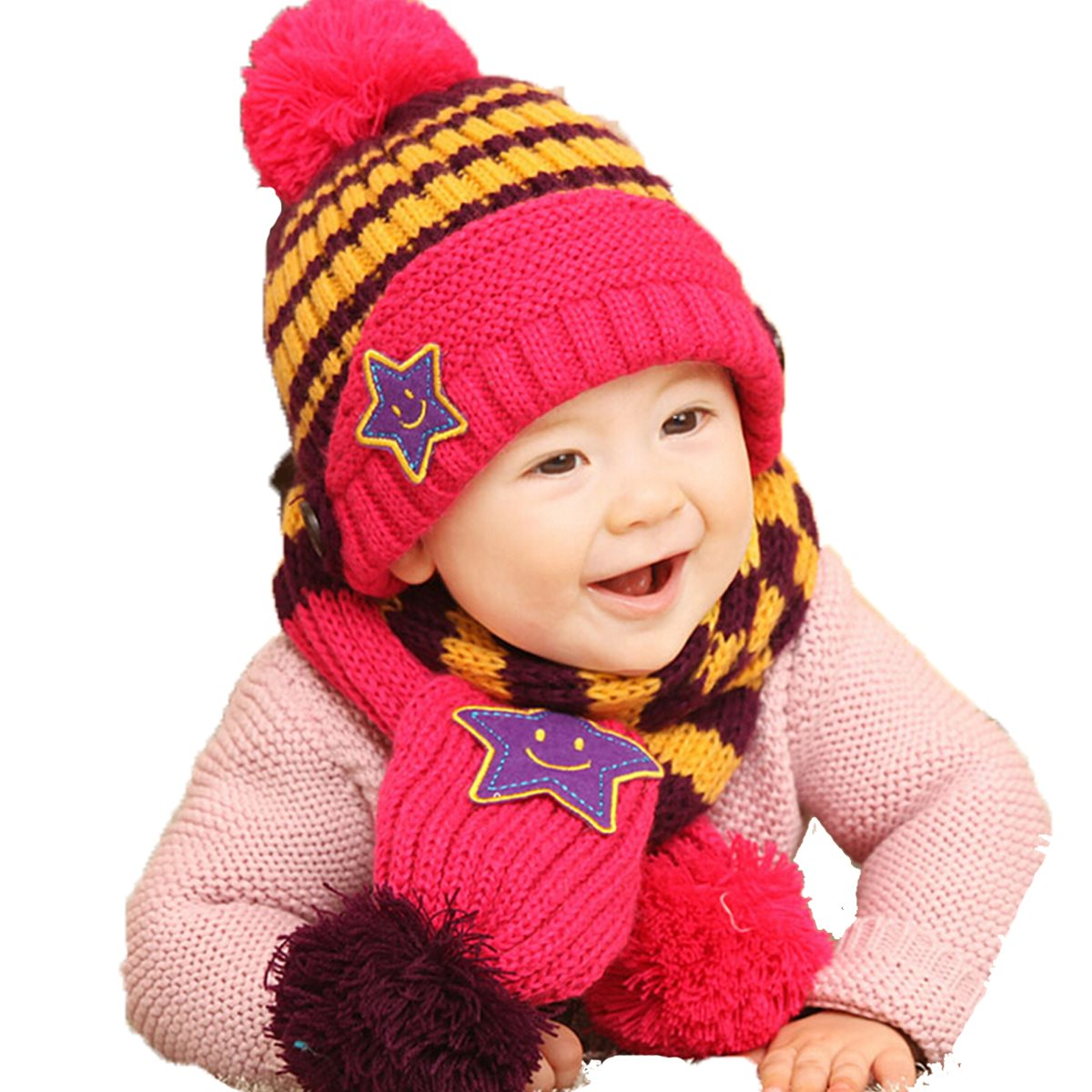 Promotion 7 Colors Winter Beanie Hats 5-Star Children Scarf & Beanies Caps Set Baby Boys Girls Knitted Wool Blending Earflap(China (Mainland))