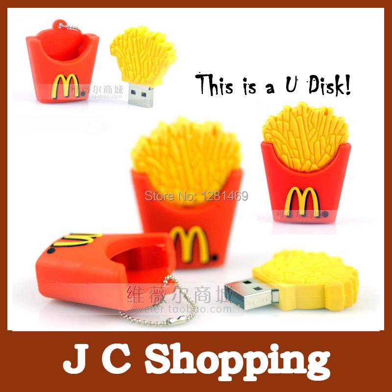 100% real capacity pen drive french fries usb flash drive chip usb usb stick PVC cute u disk 2GB 4GB 8GB pen drive(China (Mainland))