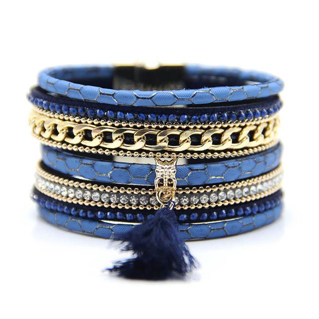 2015 Мода Многослойные Boho Жираф Кожа Магнитный браслет как подарок