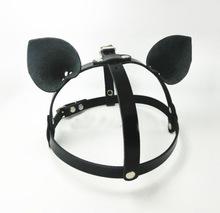 Cool Fashion Punk Goth 100% Handcraft Catwoman Leather Cat Ear Harness Hat Bondage Headpiece wholesale(China (Mainland))