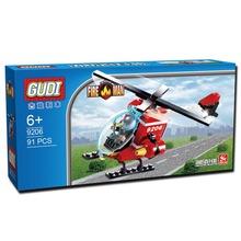 GUDI 91pcs Fire Helicopter Children Educational Assembled DIY Model Kids Toys Gift Building Blocks Brick Compatible With Legoe
