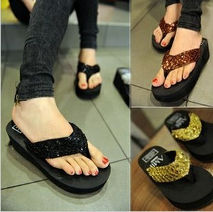 Sequins slope with thick crust muffin new non-slip bottom end sequined sandals and slippers beach sandals flip flops<br><br>Aliexpress