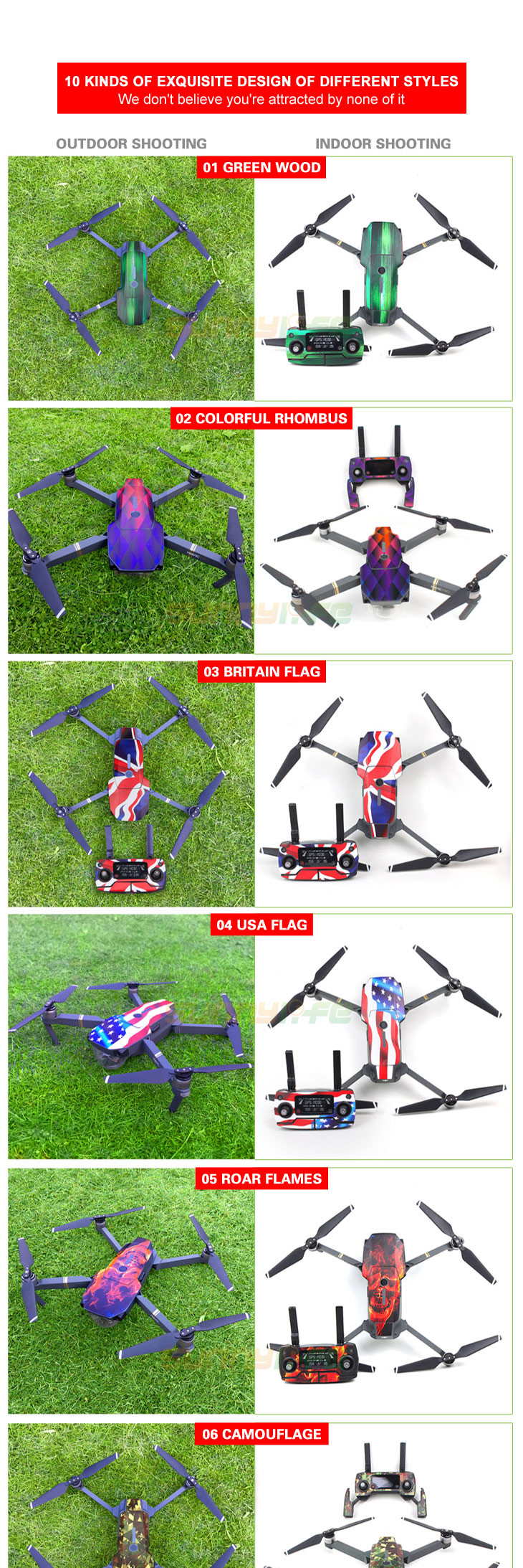 Sunnylife 3M Stickers Waterproof Skin Decals for DJI Mavic Pro Drone body+ Remote Controller+ Extra Batteries