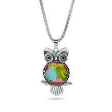 2016 Glass Owl Necklaces Pendants Antique Silver Popcorn Chain Vintage Women Men Necklaces Fashion Charms Brand