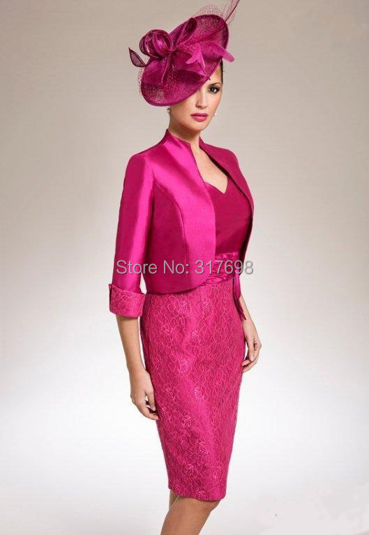 Vestidos sexy lace fuschia mother of the bride jacket for Fuschia pink dress for wedding