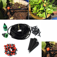 25M DIY Micro Drip Irrigation System Plant Automatic Self Watering Garden Hose Kits with Connector Free Shipping(China (Mainland))