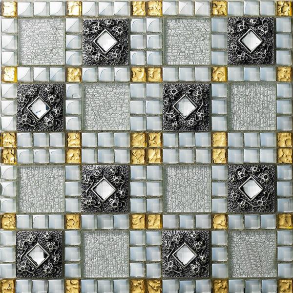 Telhas De Vidro De Cristal De Diamante Folha Mosaic Art