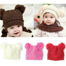 Free Shipping New Fashion Korean Flash Drill Cute Baby Lovely Dual Ball Toddler Girls boys Wool Knit Beanie Cap 5 colors New Hot