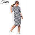Women Plus Size Shift Dress Fashion Elegant Brief Striped Half Sleeve Summer Casual Loose Party Dress