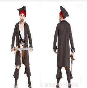 Men's Halloween Pirates of the Caribbean Captain Jack Cosplay Costumes Masquerade Luxury Pirate Role Play Costume H023