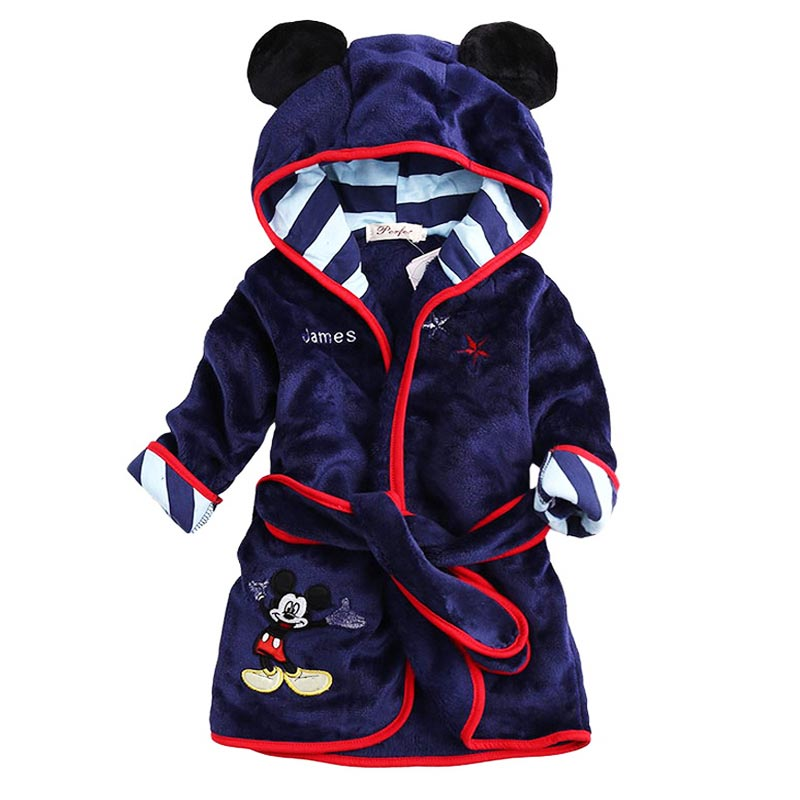 Hot Sale Children Hooded Bathrobe Towel Baby Boys Girls Flannel Lovely Cartoon Animal Robes Dressing Gown Kids Home Clothing(China (Mainland))