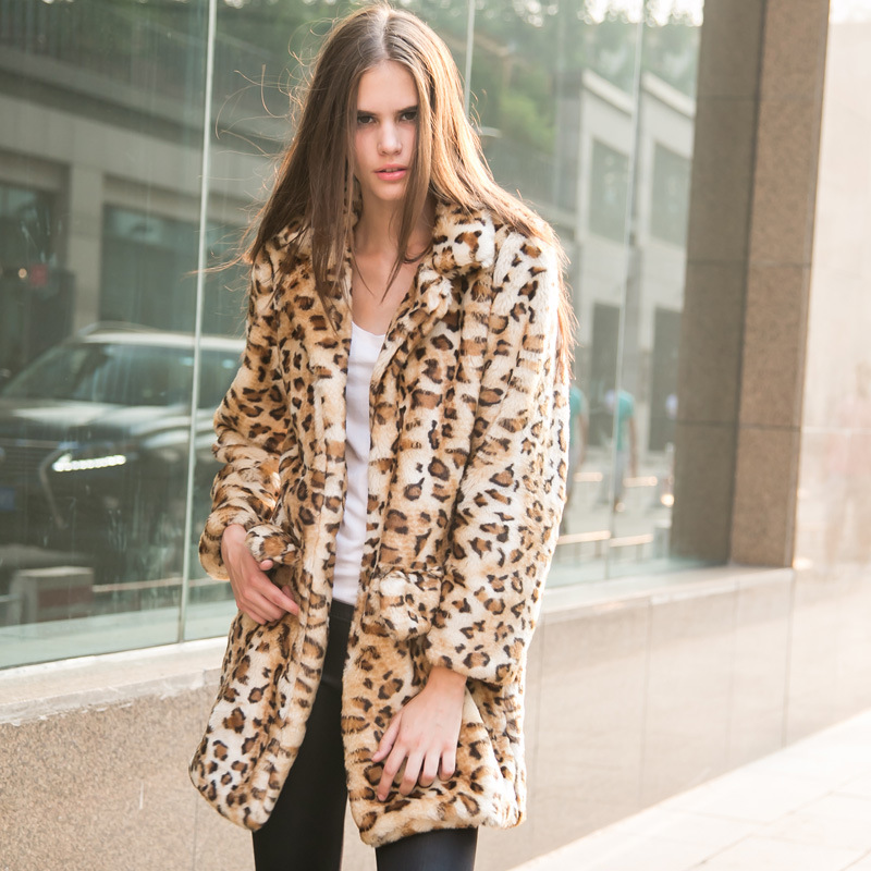 Leopard Long Women Fur Coat European Style 2015 New Winter Imitation Rabbit Fur Jacket Candy Color Pockets Lapel Overcoats(China (Mainland))