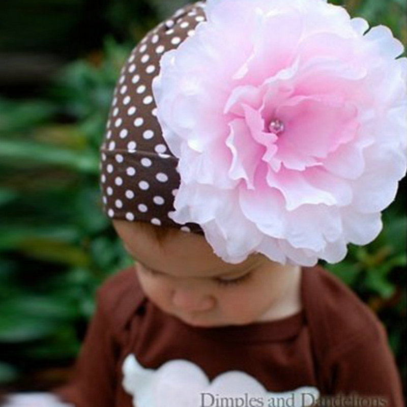 Baby Cap Kids Girls Solid Large Flower Infant Toddler Beanie Hat Cap Bucket Cap QL(China (Mainland))