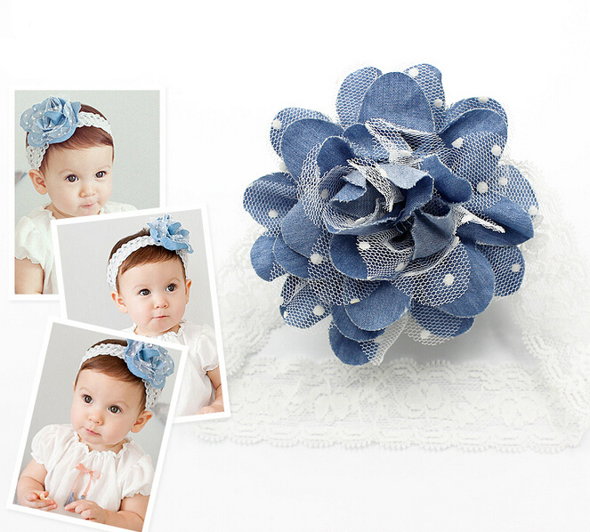Super Fashion Child Big Flower Headwear Lace Newborn Props Baby Girl Headband Hair Band Lovely Accessories CF25(China (Mainland))