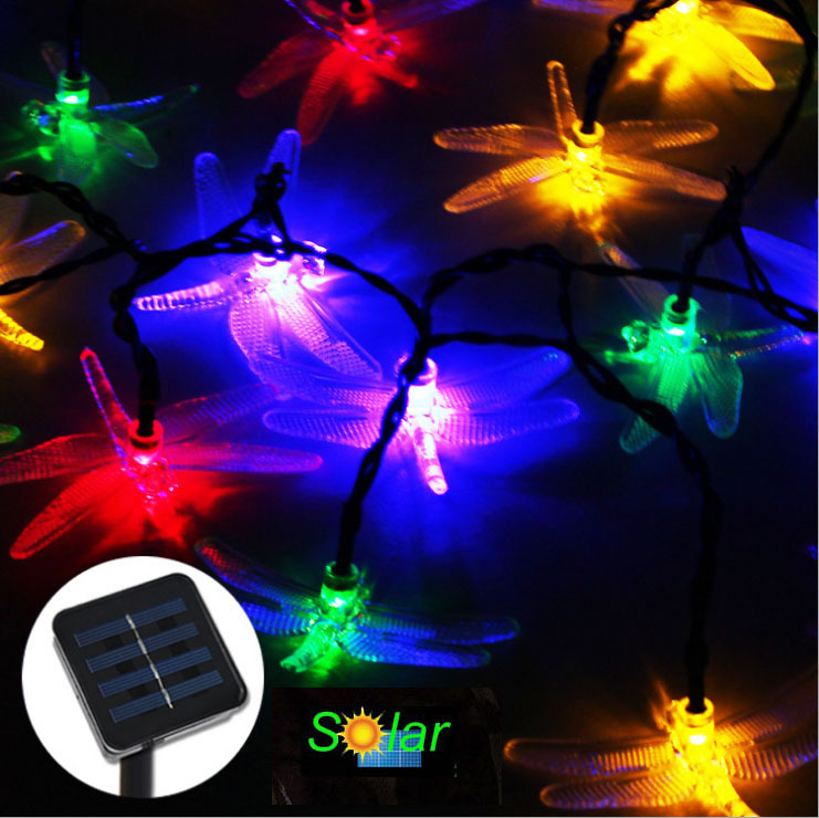 Solar Christmas Tree String Lights : 20LEDS Dragonfly Solar Led Christmas Tree Lights Solar Powered Fairy String Lights Outdoor ...