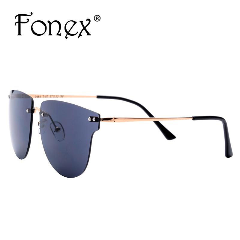Fonex 2016 NEW Fashion Luxury Women Brand Designer Vintage Square Cat Eye Oversized Sunglasses Men Colorful Rimless Sun Glasses(China (Mainland))