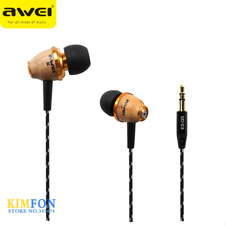 (wholesale) 100pcs Original AWEI Q5 Super Bass Wooden In-Ear Headphones Earphones Headset For Mobile Phone MP3/4 3.5mm Jack(China (Mainland))