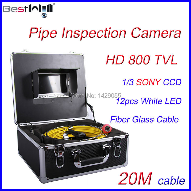 FREE Shipping 20M Sewer Pipe Inspection Camera HD 800 TVL CR110-7D1 with 7'' Digital LCD Screen Fiber Glass Cable(China (Mainland))