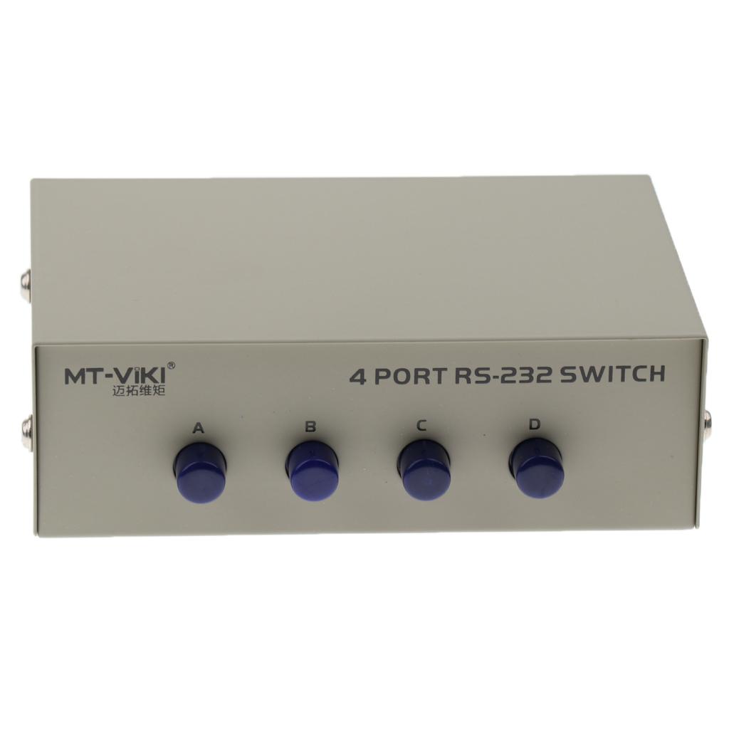 Printer DB9 Pin Serial RS232 Switch Box Manual 4Ports Data Sharing Switcher