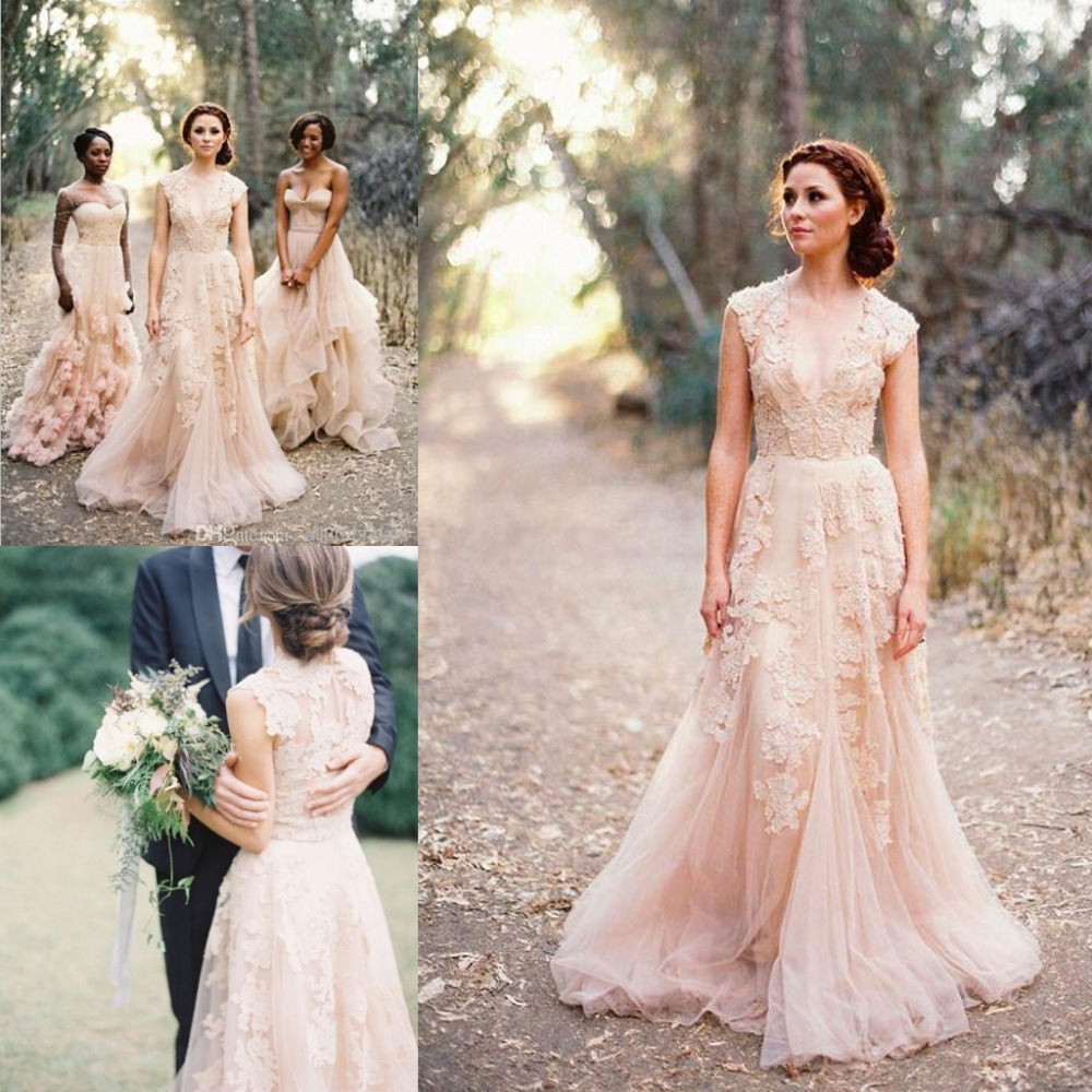 Luxury 2016 pink wedding dress a line v neck lace wedding for Red wedding dresses with sleeves