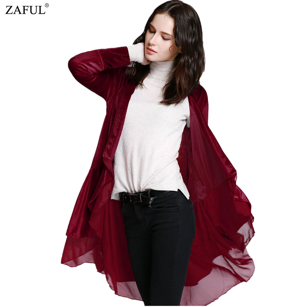 ZAFUL New Arrival Women Autumn Winter Chiffon Patchwork Swingy Velvet Long Sleeve Black Red Loose Outwear Outfit Long Trech Coat