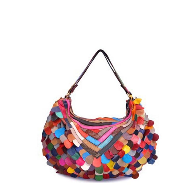 2015 New Genuine Leather Patchwork Bag Fashion Women Shoulder Bag Colourful Handbag 1681(China (Mainland))