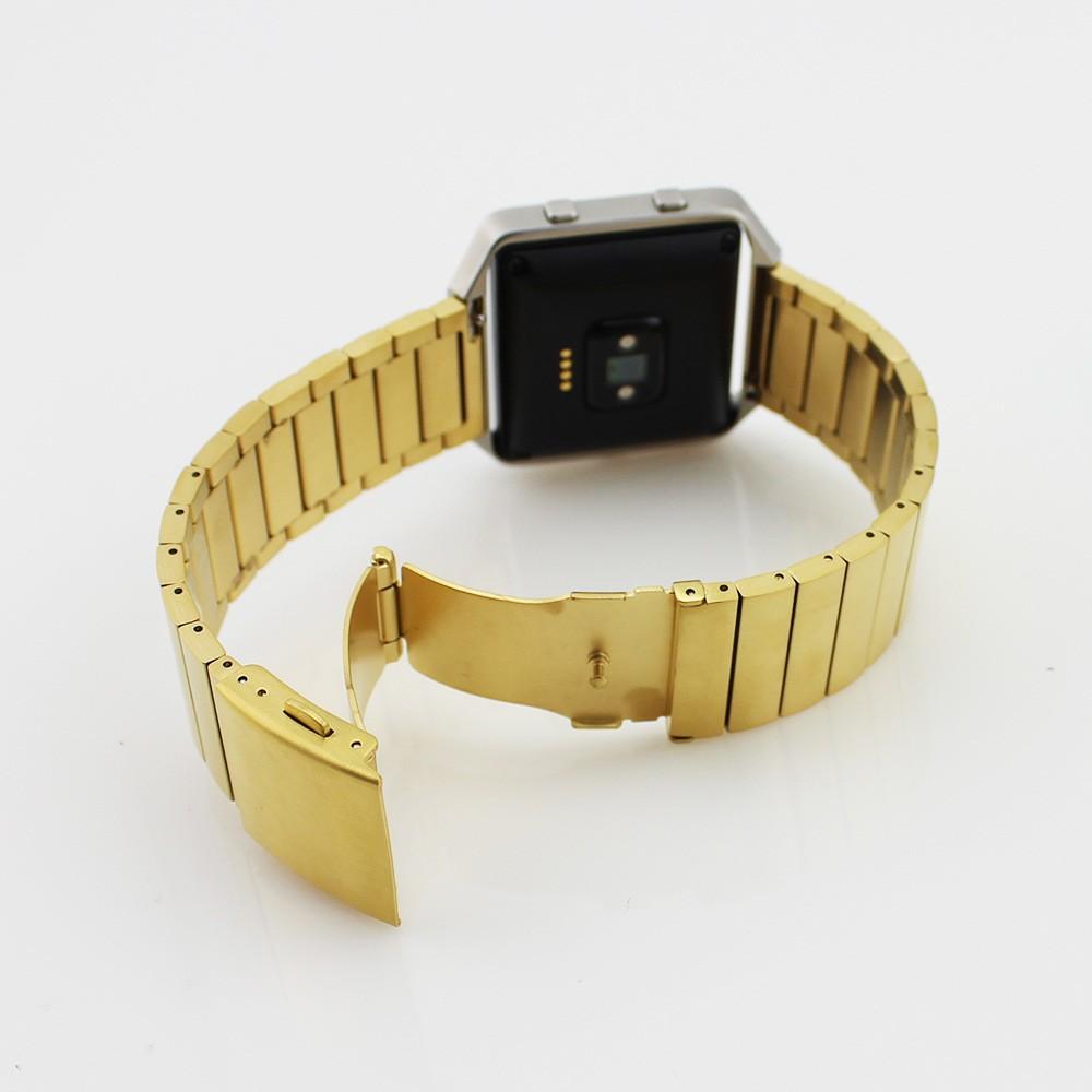 ถูก เงินสีดำโกลเด้นหรูหราโลหะสแตนเลสสร้อยข้อมือสายคล้องสำหรับf itbit b laze smart watchวง