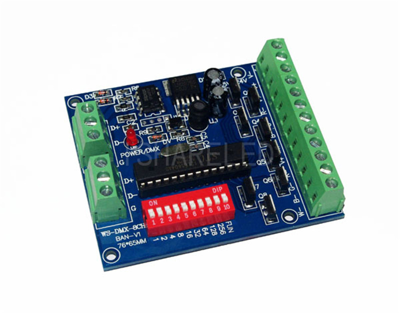 8CH easy dmx constant voltage decoder,DC5-24V input;3A*8channel output;L72*W55*H15mm RGB Controler(China (Mainland))